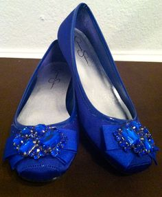 Jessica Simpson Royal Blue Flats With Jewels. Bought These At A Thrift  Store. I