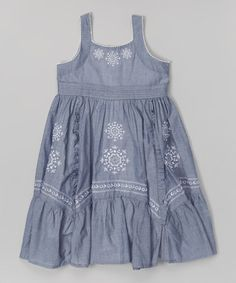 Blue Chambray Embroidered Babydoll Dress - Toddler & Girls