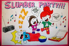 """Slumber Party Invite"", pen and highlighter, 2013 © copyright Mike Kraus"
