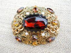 Germany Topaz & Amber Rhinestone Brooch Gold by JanesVintageJewels