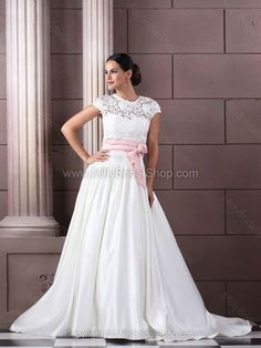 Ball Gown Scoop Satin Sweep Train Lace Wedding Dresses -$271.19