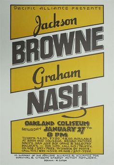 Jackson Browne and Graham Nash at the Oakland Coliseum Concert Poster