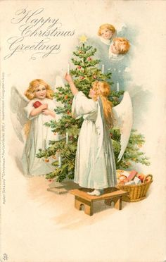HAPPY CHRISTMAS GREETINGS  two angels round tree, two heads above