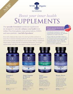 Very excited about NYR Organic's brand new Made in the USA supplements! I'm experimenting with the Beauty Boost & multi vitamin! Beauty Boost, Health And Beauty, Health And Wellness, Organic Supplements, Anti Aging Supplements, Organic Brand, Organic Oil, Organic Beauty, Organic Skin Care