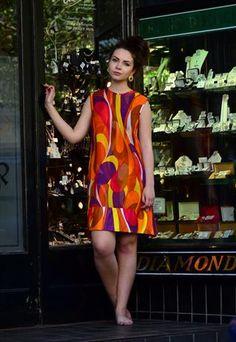 Vintage 60's Vibrant Psychedelic Shift Dress