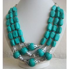 Turquoise Beaded Statement Necklace / Bib Necklace  by FootSoles, $27.50