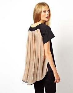 Top with Panel Detail and Pleated Drape Back by ASOS