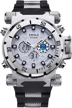 SPECIFICATIONS Water Resistance 30M Case Diameter (cm) 4.8, 5.7 with buttons Case Thickness (cm) 1.6 Band Length (cm) 31.6 Band Width (cm) 2.6 FEATURES: 6 digits display with back light, chronograph with 1/100th second lap operation. Counts to 24 hours, 12/24 hours selectable. Shows: hour, minute, second, month, date, weekday. 5-minute snooze alarm and hourly …