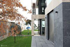 Minimal luxury lakeside modern villa with stone facade Stone Facade, Luxury Villa, Minimalism, Sidewalk, Photo And Video, Studio, Modern, Instagram, Design