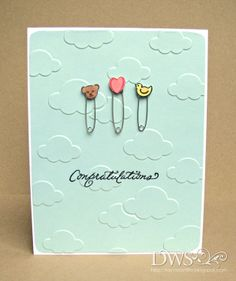 DeNami Baby Pin Congratulations card by Curtis Curtis Seymour Baby Cards, Kids Cards, Pin Card, Simple Blog, Crazy Girls, Congratulations Card, Paper Crafts, Card Crafts, New Baby Products