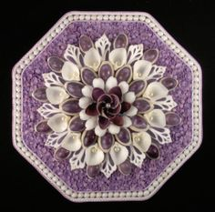 "Seashell Art SAILORS VALENTINE Octagon Shell Mosaic - Lavender & White - 8"" US $99.50"