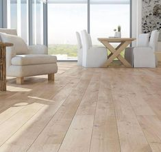 Barlinek Oak Sense is an extra wide engineered plank floor with a white brushed natural oil finish. These boards have a really rustic textured surface and with its light pigmented stain, provides a bold look that will stand out amongst your interior. Wide Plank Flooring, Engineered Wood Floors, Wooden Flooring, Flooring Ideas, Wood Flooring Options, Amtico Flooring, Pine Flooring, Natural Wood Flooring, Kitchen Flooring