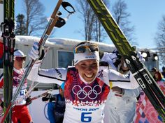 Charlotte Kalla of Sweden captures silver medal in cross-country skiathlon, Sochi 2014. Go Sweden!