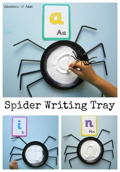 S is for Spider Writing Tray. A simple Halloween spider inspired activity to help with letter formation. A fun way to write the alphabet, practise phonics, name writing and sight words and numbers. Writing Area, Pre Writing, Theme Halloween, Halloween Activities, Phonics Activities, Preschool Activities, Incy Wincy Spider Activities, Handwriting Activities, Nursery Activities