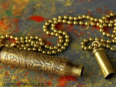 NEW Bullet Shell Vial Rifle Casing, Etched Brass Secret Stash Container from recycled Colorado bullet shells on Brass Chain - SV-223-E