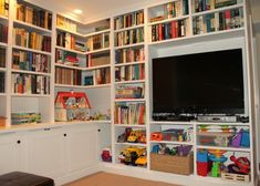 Here are some built in bookshelves that wrap around a corner of a living room.