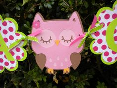 Pink and Green Owl Baby Shower Banner-Its A Girl. $25.50, via Etsy.