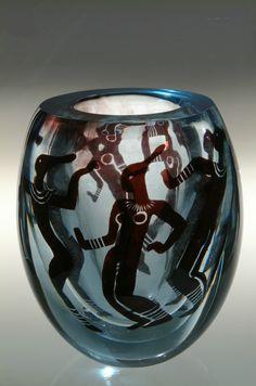 """Vicke Lindstrand (Swedish, 1904-1983), Orrefors, """"African Dancers"""" Graal Glass Vase."""