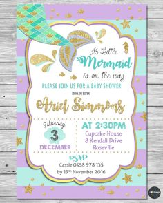 mermaid baby shower invitations party supplies invite gold turquoise personalise