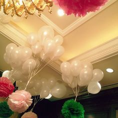 tissue pom poms tied to balloons- great for spaces that won't let you hang things! Tissue Pom Poms, Tissue Balls, Holiday Party Themes, Party Ideas, Wedding Shower Decorations, Bridal Shower, Baby Shower, Floating Flowers, Wedding Gifts