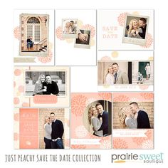 Save the Date Photoshop Templates for Photographers - Just Peachy - Set of 8 PSD Files - CS4003 on Etsy, $30.00