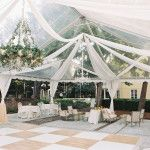 william aiken house wedding floral chandelier and tent draping