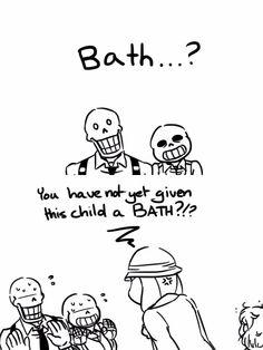 """Papyrus, Sans, Frisk, and Toriel - MobsterUT AU - """"How often do the skelebros give Frisk a bath?"""""""