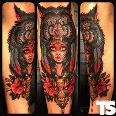Tattoo by: Eric Kuiken at Guru Tattoo in San Diego, CA Head Tattoos, Wolf Tattoos, Cover Up Tattoos, Body Art Tattoos, Gypsy Tattoos, Tatoos, Guru Tattoo, I Tattoo, Unique Tattoos