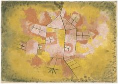 Paul Klee - Rotating House, 1921, oil and pencil on cotton  cheesecloth mounted on paper