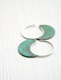 Little Urban Hoops, Verdigris - handmade copper and sterling silver earrings, verdigris patina, made in Italy
