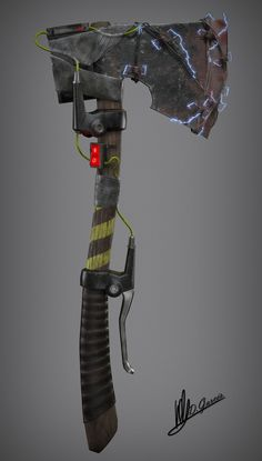 ArtStation - Post-Apocalyptic axe, David Garces Garcia Zombie Apocalypse Weapons, Ninja Weapons, Sci Fi Weapons, Weapon Concept Art, Fantasy Weapons, Post Apocalyptic Art, Post Apocalyptic Clothing, Post Apocalyptic Costume, Gothic Steampunk