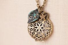 """Antique Bronze 30"""" Chain (Essential Oils) Diffuser Locket Necklace with Three Charms"""