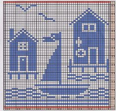 Ravelry: Potholder Sea Side 1 pattern by Regina Schoenfeldt Filet Crochet Charts, Knitting Charts, Knitting Patterns, Crochet Patterns, Geek Cross Stitch, Cross Stitch Designs, Cross Stitch Patterns, Crochet Granny Square Afghan, Crochet Squares