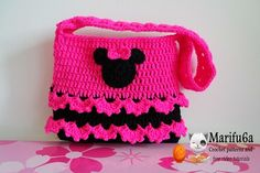 Crochet pattern minnie mouse purse bag by marifu6a Skill Level: beginner. Material: acrylic 100gr-300mt  Hook nr. 3mm Size : 20x25 cm(8x10 inch)  This is easy to follow TUTORIAL CROCHET PATTERN with w