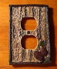 PINE CONE BARK SINGLE OUTLET COVER Rustic Lodge Cabin Wall Plate Home Decor NEW