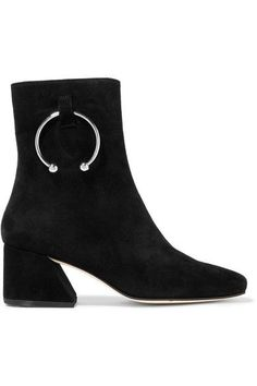 Heel measures approximately 50mm/ 2 inches Black suede Zip fastening along side Imported