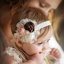 6 cores mais novo Baby Children criança do laço do Vintage flor Hairband suave Elastic Headband faixa de cabelo acessórios # 01(China (Mainland))