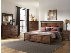 Craft Designs Wolf Creek Queen Group, Pillow Top Bedding Fee WOLFQUEENPANEL