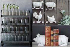 VINTAGE FLAIR  Sprinkle farmhouse flair all around your home by introducing a few inspired pieces to each room. Accents made of wood, glass, metal and stoneware are perfect to help you put that simple spin on your décor.   This collection is bursting with fun  accents. The metal rolling cart looks like it could be an old original utility cart! No farmhouse is complete without a few animal accents,bookends, cutting board, or animals on wheels!