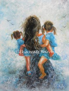 ♥♥♥ Mother carrying two brunette daughters. Yes, youre heavy, but I still love to carry you! ♥♥♥ Mommy, Carry Me Too~~Two Daughters is a large fine art print of an original oil painting of mine. The original has sold. * Image size 11 X 14+ printed on 12 X 18 heavyweight smooth