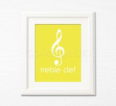 Treble Clef  Music Art Print  8x10  Yellow Nursery by pixelgecko, $14.90