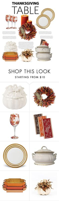 """""""Thanksgiving Table"""" by dawndyb ❤ liked on Polyvore featuring interior, interiors, interior design, home, home decor, interior decorating, Fitz and Floyd, Envi, Harvest and L'Objet"""