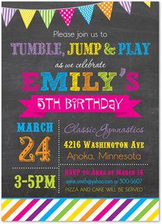 Gymnastics Invitations - Tumble Jump Flip Birthday Party Invitations