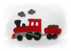 SaVö-Design - Zug , Eisenbahn, Lokomotive, mit Wagen und Rauchwolken, gehäkelt, Häkelapplikation