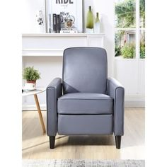 Vivian Faux Leather Push Back Recliner Club Chair, Grey Color, by Nathaniel Home | Overstock.com Shopping - The Best Deals on Recliners