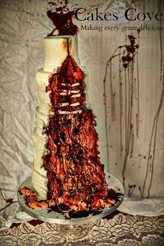 45 Creative Halloween Wedding Cakes Ideas is part of Zombie wedding - When it comes to wedding ceremony, you may only concern at your wedding dress, guest banquet, venue decoration and your […] Zombie Wedding Cakes, Gothic Wedding Cake, Gothic Cake, Halloween Wedding Cakes, Crazy Wedding Cakes, Zombie Cakes, Pasteles Halloween, Bolo Halloween, Halloween Cakes