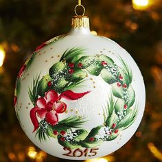 This handblown, hand-painted ornament is a one-of-a-kind design created by skilled European artisans with techniques passed down through the generations. Hand Painted Ornaments, Diy Christmas Ornaments, Holiday Crafts, Christmas Wreaths, Christmas Decorations, Noel Christmas, Homemade Christmas, Christmas Ideas, Dollar Store Christmas