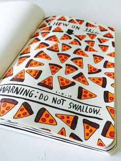 Wreck this journal by ANNEBIEM: Chew on this - pizzzaaaaa ❤️ saw this from another wrecker and liked it so much I needed to do this myself