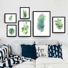 1.16AUD - Modern Green Leaves Plant Canvas Wall Painting Art Print Home Room Decor Eyeful #ebay #Home & Garden
