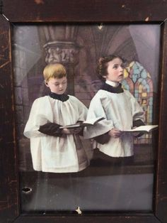 Lovely holiday print for those that delight owning and displaying art works that are over 115 years old!  #Christmas Antique #Ullman Victorian Photo Color Litho Print #ChoirBoys 568 Orig Wood Frame